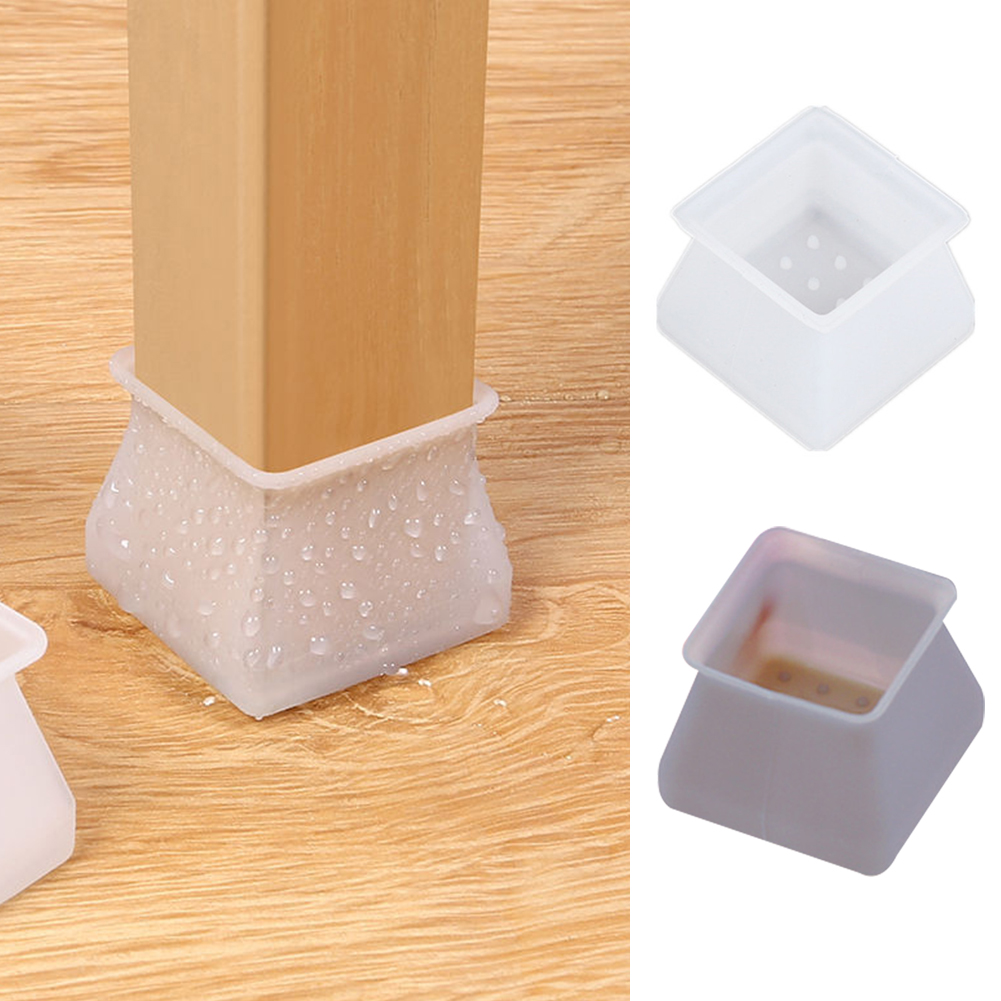 10pcs Moving Non Slip Square Home Noise Reduction Table Feet Scratchproof Soft Silicone Chair Leg Cover Flexible Floor Protector