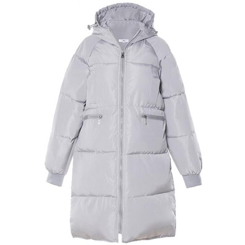 Jrnnorv 2019 Winter Womens Hooded Long   Parkas   Thicken Solid Color Winter Warm Coats Loose Cotton Padded Jacket Outerwear Female