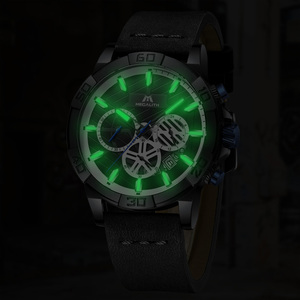 Image 4 - relogio masculino MEGALITH sport waterproof watch men top brand luxury luminous chronograph watches for men leather strap clock