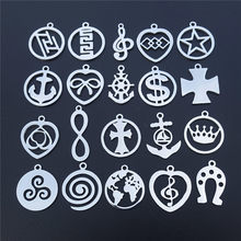 Small Charms Stainless Steel World Map Wolf Triskele Anchor Infinity Dollar Pendant Diy Jewelry Findings Component 50pcs Mix(China)
