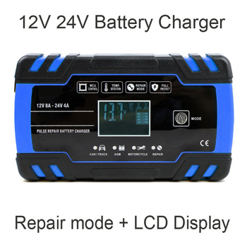 12V 24V  8A Full Automatic Truck Motorcycle Car Lead Acid Battery Charger Wet Dry Lead Acid Battery-chargers Digital LCD Display lcd full automatic 12v 24v smart pulse lead acid battery charger for car motorcycle
