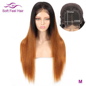 Soft Feel Hair Ombre 4x4 Lace Closure Human Hair Wigs Remy Pre Plucked Brazilian Straight Wig For Black Women 1B/30 Middle Ratio - DISCOUNT ITEM  54% OFF All Category