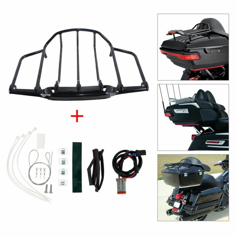 Green-L Black LED Tail Light W//Red Lens Trunk King Tour Pack Wrap Around Fit For Harley Touring Model Electra Steet Road Glide King 1997-2008 2007 2006