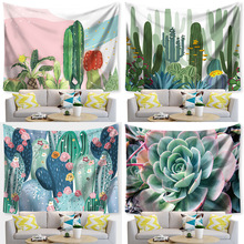 Bohemia Tapestry Green Cactus Succulents Landscape Macrame Wall Hanging Tapestries Picnic Blanket Living Room Wall Cloth