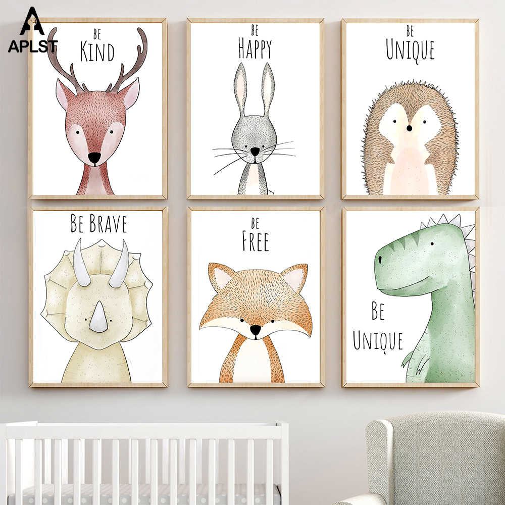 Animal Painting Be Brave Deer Rabbit Dinosaur Canvas Prints Posters Hedgehog Bear Picture Kids Baby Nursery Room Christmas Decor