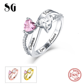 Engraved Double Love Heart Birthstone Ring Personalized 925 Sterling Silver Rings Sterling Silver Custom Jewelry For Lover uny ring 925 sterling silver mother customized engrave rings family heirloom ring anniversary personalized love birthstone rings