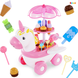 Kids Kitchen Toys Ice Cream Candy Cart W/Music & Light Pretend Play Sets Kids Home Toy Play House Birthday Gift Girl 3-6 Years