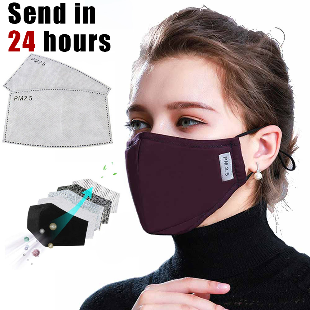 PM2.5 Outdoor Mask Anti Dust Mask Activated Carbon Filter 5 Layers Mouth-muffle Bacteria Proof Bicycle Face Masks Protector