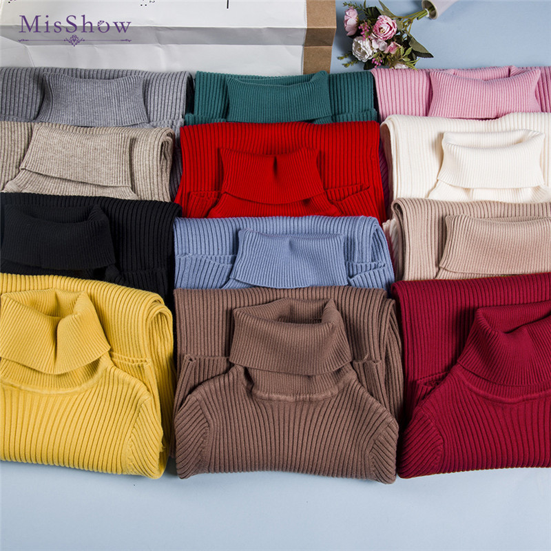 Mish's Solid Autumn, Long Winter Woman Pulver, The New Korean Style Sweater With Tall Collar
