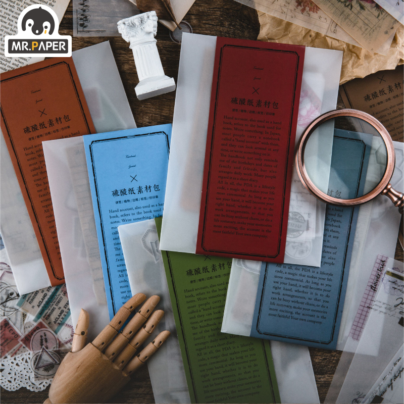 Mr.paper 6 Designs 87pcs Granny Chic Material Scrapbooking/Card Making/Journaling Project DIY Kraft Retro Writing Paper Cards
