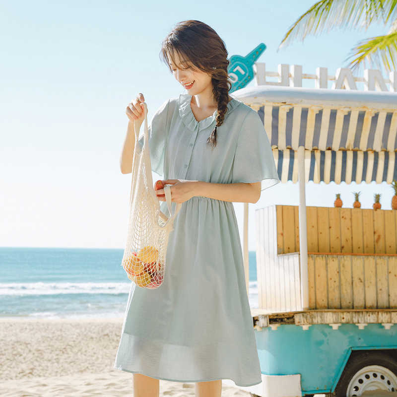 INMAN 2020 Summer New Arriavl 문학 Falbala 인형 칼라 Pure Color Nipped Waist Dress
