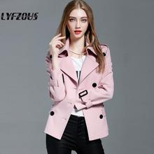LYFZOUS Spring Autumn New Trench Coat Fashion Slim Double Breasted Ties Short Wi