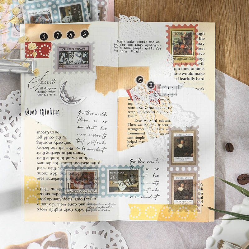 20pcs/set Vintage Stamp Stationery Stickers Cute Mona Lisa Smile Paper Stickers For Kids DIY Diary Scrapbooking Photo Ablums