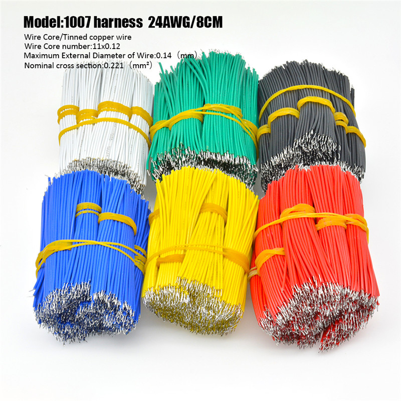 100pcs/pack UL1007 24AWG Double Solder Wire Breadboard Jumper Cable Wires Kit 8cm 6 Colors Jumper Wire Cable Tin Conductor Wires