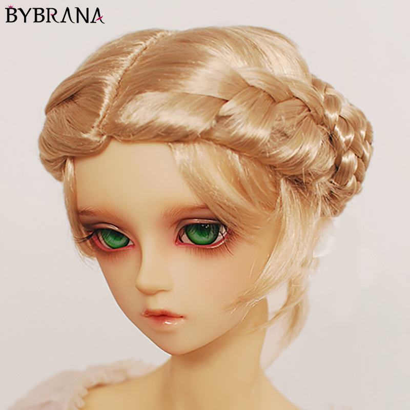 Bybrana BJD Wig 1/3 1/4 1/6 1/8 Lmitation Mohair Curls Cute Braid Short Curls Hair For Dolls