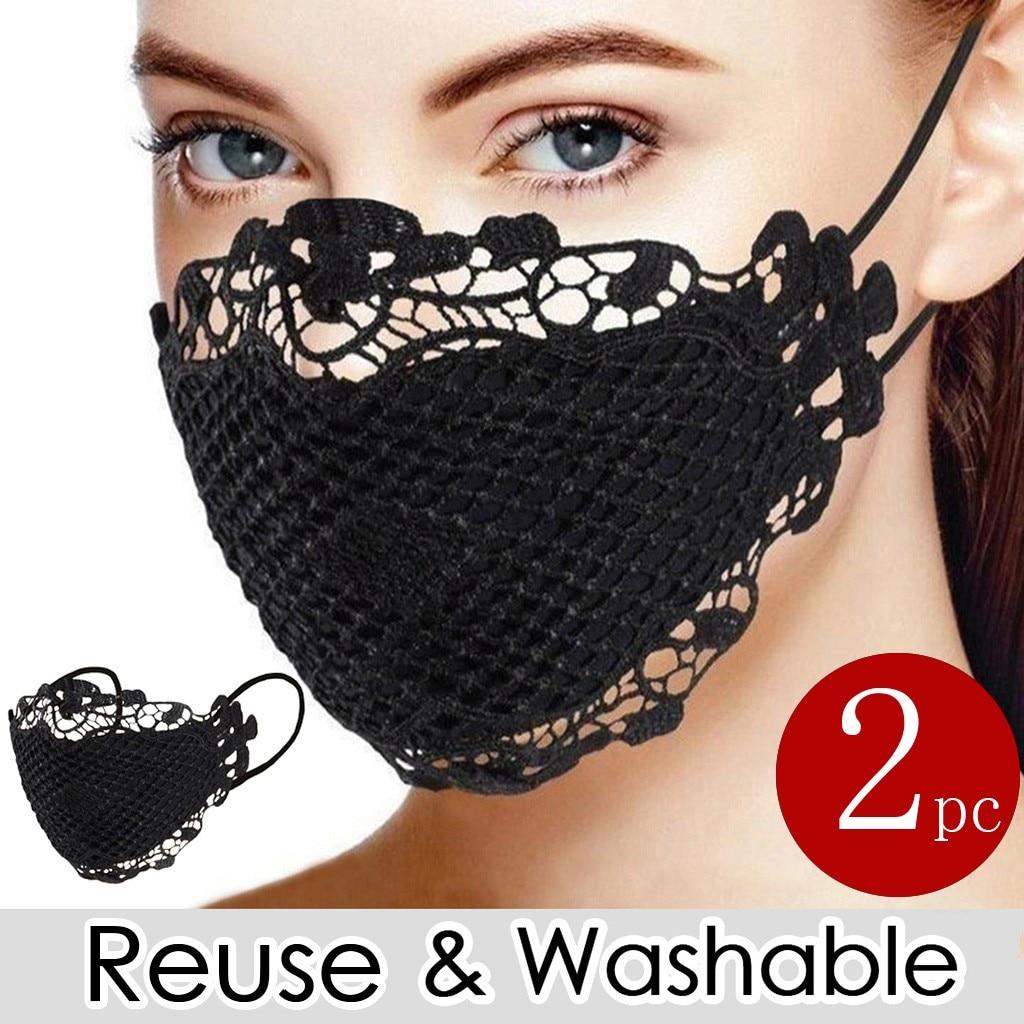 2 шт. Женская деликатная Кружевная аппликация маска для лица дышащая защита для лица моющаяся многоразовая модная маска Mascarilla #45 Женские маски      АлиЭкспресс