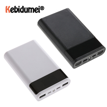 QC 3,0 caja de carga rápida para teléfono móvil 4x18650, caja de almacenamiento de batería de 15000mAh, con pantalla LED inteligente, USB, tipo C