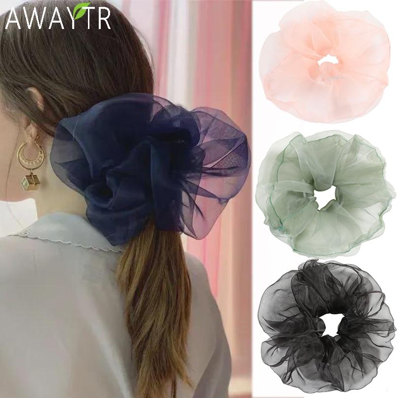 AWAYTR Women Summer Elegant Chiffon Crude Elastic Hair Bands Ponytail Holder Headband Sweet Rubber Band Fashion Hair Accessories