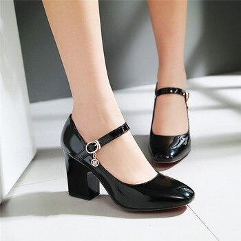 YMECHIC Autumn 2019 Black White Block Heel Office Dress Mary Jane Shoes Women Buckle Ladies Plus Size High Heels Pumps Big Size