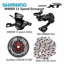 Shimano XT M8000 4 adet bisiklet bisiklet mtb 11 hız kiti Groupset RD M8000 değiştiren SunRace kaset K7 KMC zinciri 11 46T 11 50T