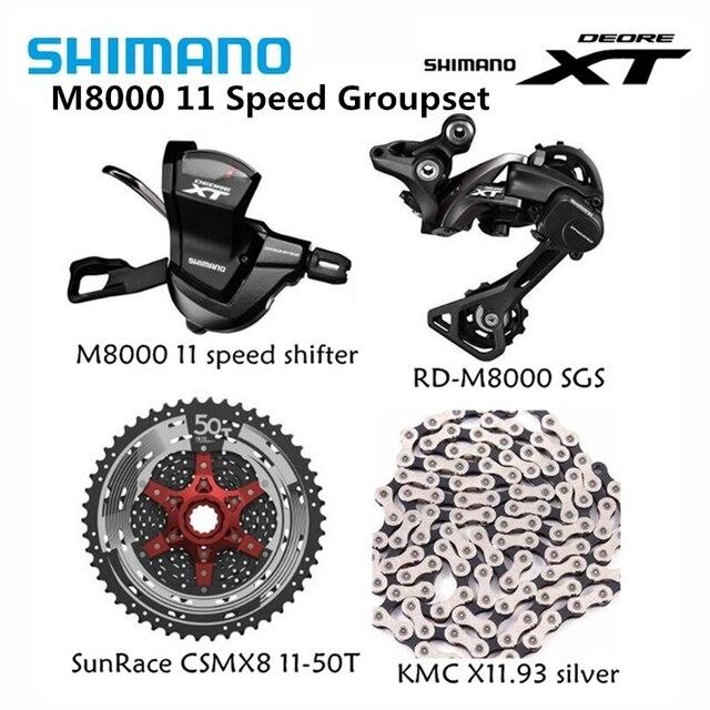 Shimano XT M8000 4pcs אופני אופניים mtb 11 מהירות ערכת Groupset RD M8000 שיפטר עם SunRace קלטת K7 KMC שרשרת 11 46T 11 50T