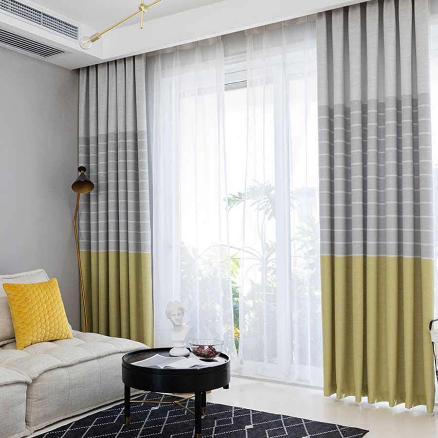 Simple Yellow Gray Linen Curtains For Bedroom Blackout D Nordic White Sheer Curtain Fabrics Balcony Decoration My161 4