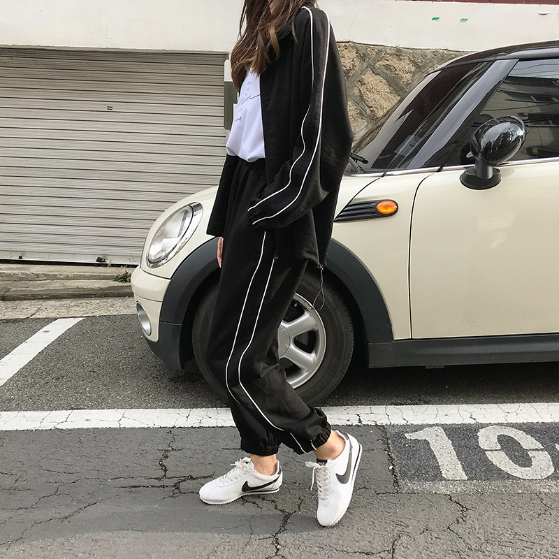 Z77616 [Yellow Zheng] 2018 Autumn South Korea WOMEN'S Dress Leisure Suit Sports Cardigan Coat Beam Leg Casual Long Pants
