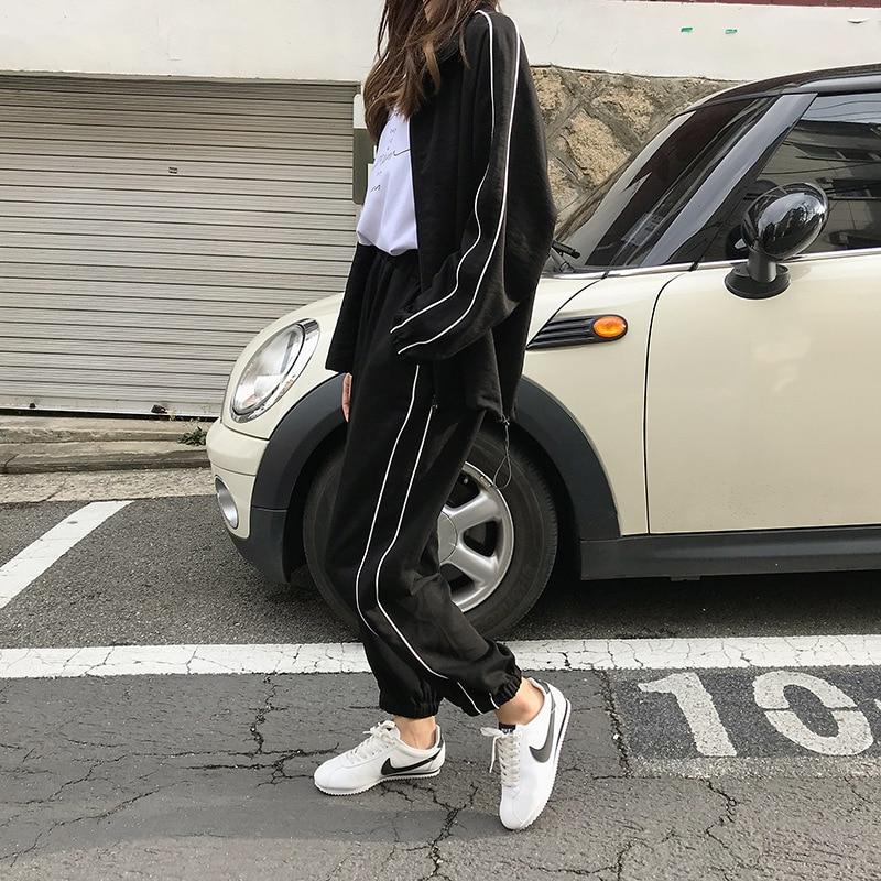 Z77616 [Yellow Zheng] 2018 Autumn South Korea WOMEN'S Dress Leisure Suit Sports Cardigan Coat Beam Leg Casual Long Pants