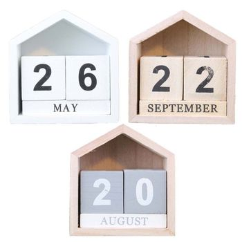 Vintage Wooden Perpetual Calendar Month Date Display Eternal Block Photography Props Desk Accessory Sweet Home Office Decoration цена 2017