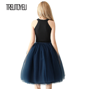 Image 3 - Streetwear 5 couches 65 cm Midi jupe plissée femmes gothique taille haute Tulle jupe patineuse rokjes dames ropa mujer 2019 jupe femme