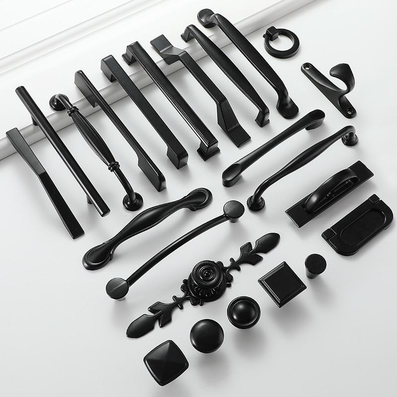 Poignées noires pour meuble de cuisine, tiroirs de placard