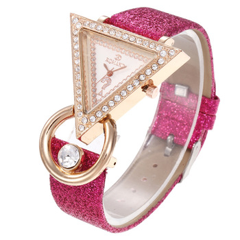 Creative Triangle Women Watches Luxury Brand Rose Gold Diamond Watches For Women Shiny Starry Sky Strap Ladies Dress Watch Gift