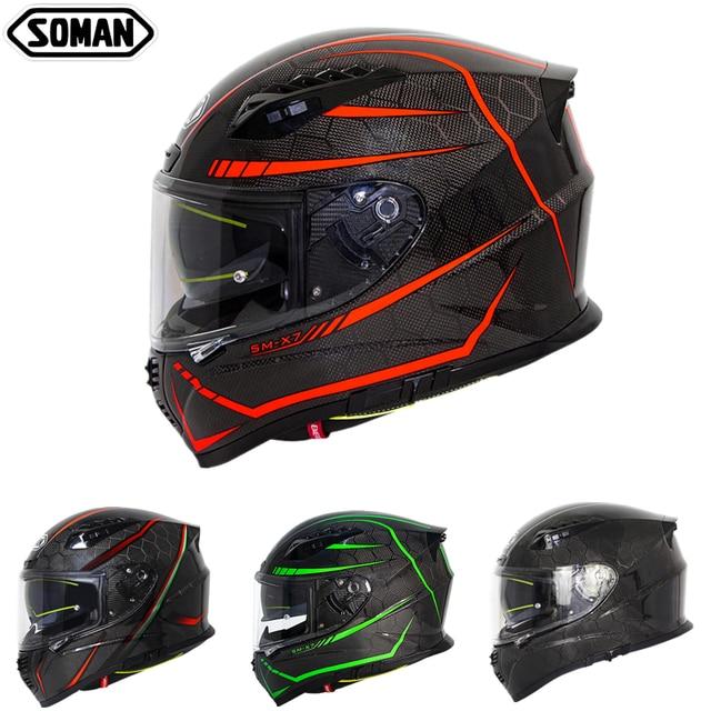 SOMAN ניאון קו סיבי פחמן קסדה מגניב מלא פנים ECE אופנוע קסדות מגן להעיף את Mens מירוץ Bluetooth Casco Moto