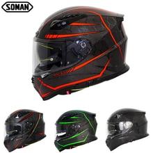 SOMAN Fluorescent Line Carbon Fiber Helmet Cool Full Face ECE Motorcycle Helmets Flip Up Visor Mens Racing Bluetooth Casco Moto