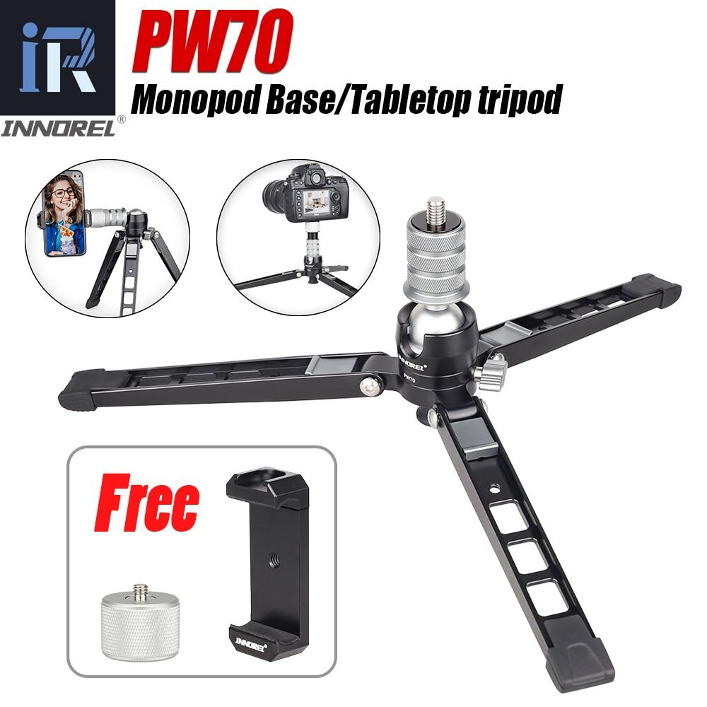 PW70 Tripod Aluminum Mini Multi-Function Photography Bracket For DSLR Camera Smartphones Monopod Stand Base Desktop Tripode