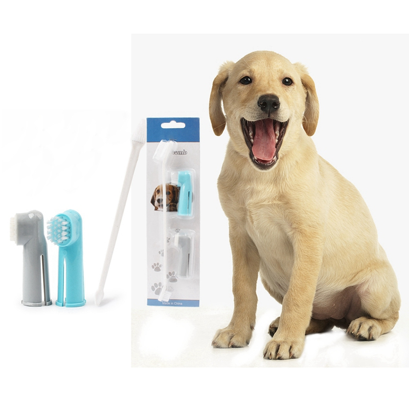 Dog Finger Toothbrush Soft double-ended Toothbrush Pet Teddy Dog Brush Bad Breath Clean Teeth Tool Pet Toothbrush Suit image