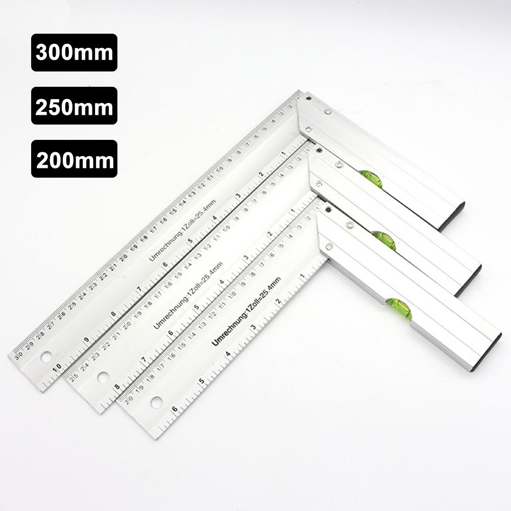 200/250/300mm Aluminum Alloy 90 Degree Right Angle Measuring Ruler Protractor