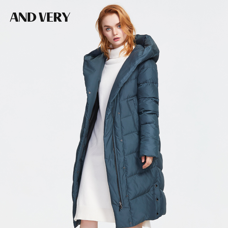 ANDVERY2019Winter New Collection Down Jacket Women High Quality Hooded Medium Length Top Thick Cotton Warm Coat With Zipper 9602