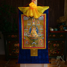 Venta al por mayor budista supplies-120CM grande-budismo arte seda Padmasambhava Guru Rinpoche 8 Budas Thangka Buda pintura