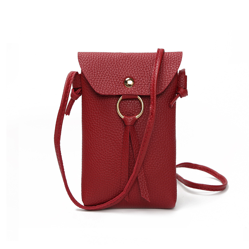 TRASSORY Leather Neck Hanging Small Cell Mobile Phone Case Bag Crossbody Girl's Travel Mini Purse Punch For Ladies