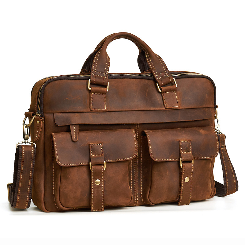New Leather MEN'S Bag Briefcase Casual Retro Fashion 17-Inch Laptop Men's Handbag Men's Bag