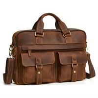 New Leather MEN'S Bag Briefcase Casual Retro Fashion 17 Inch Laptop Men's Handbag Men's Bag