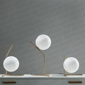 Image 3 - 現代のガラス玉テーブルランプゴールド北欧シンプルな寝室のベッドサイド読書デスクランプ家の装飾 LED テーブルライト Lamparas
