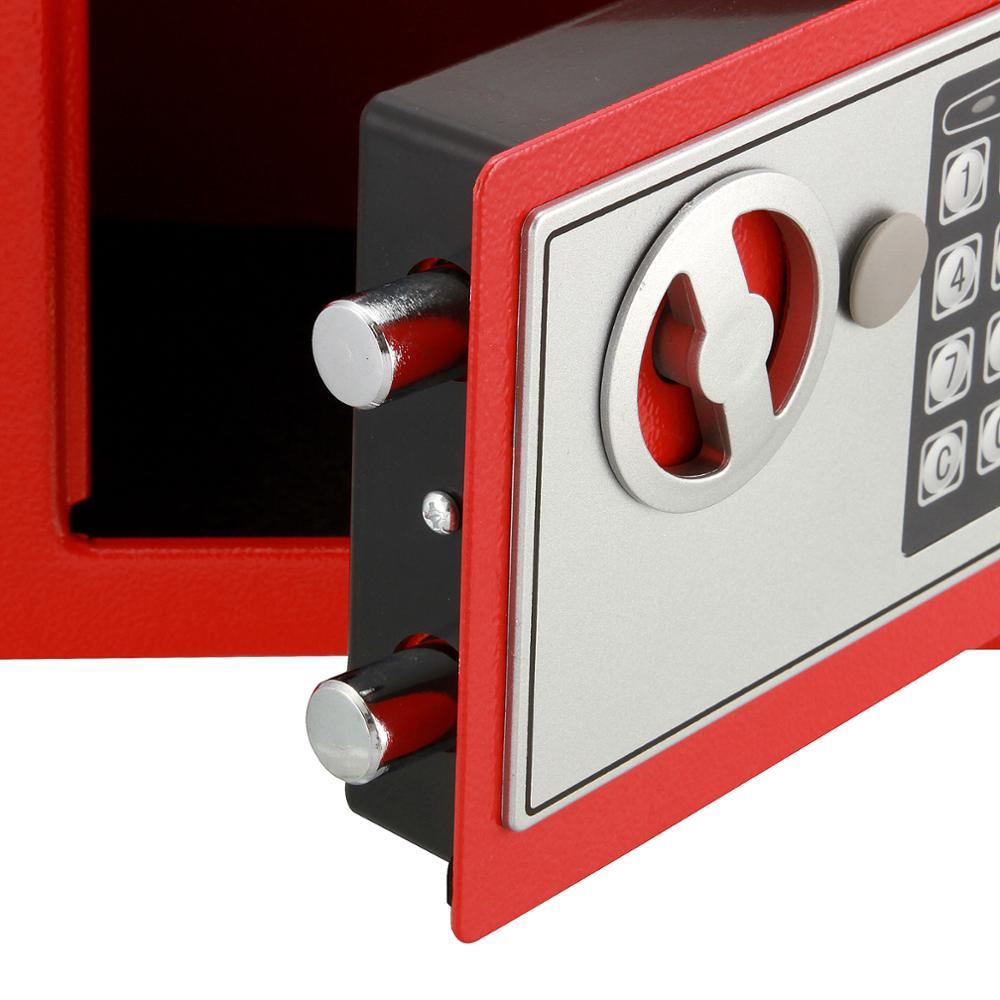 Ladieshow Cassaforte Mini Cassetta di Sicurezza Portatile in Acciaio con Serratura per Monete in Contanti con Serratura per Uso Domestico con 2 Chiavi Rosa