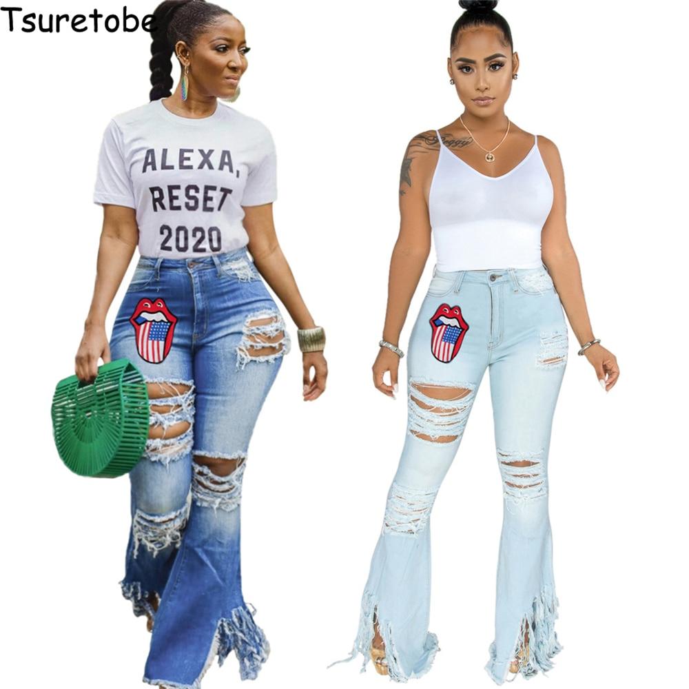 Tsuretobe Ripped Jeans For Women Embroidery Jeans Mom Jeans High Waist Flare Jeans Vintage Bell Bottom Jeans Women Streetwear