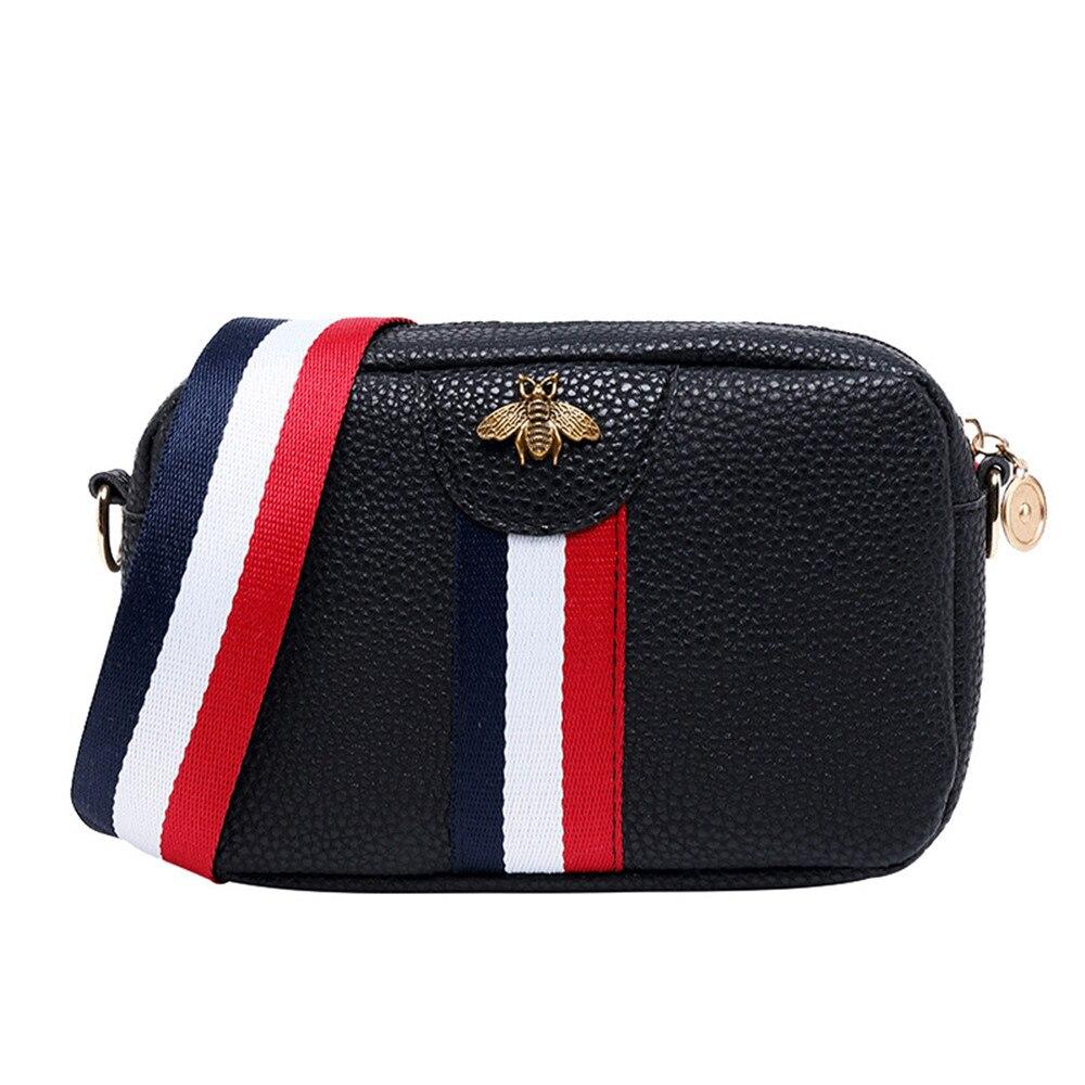 Women Fashion Shoulder Bag Stylish PU Crossbody Messager Bag Handbag Striped Wide Shoulder Strap Small Square Bag Purse Female
