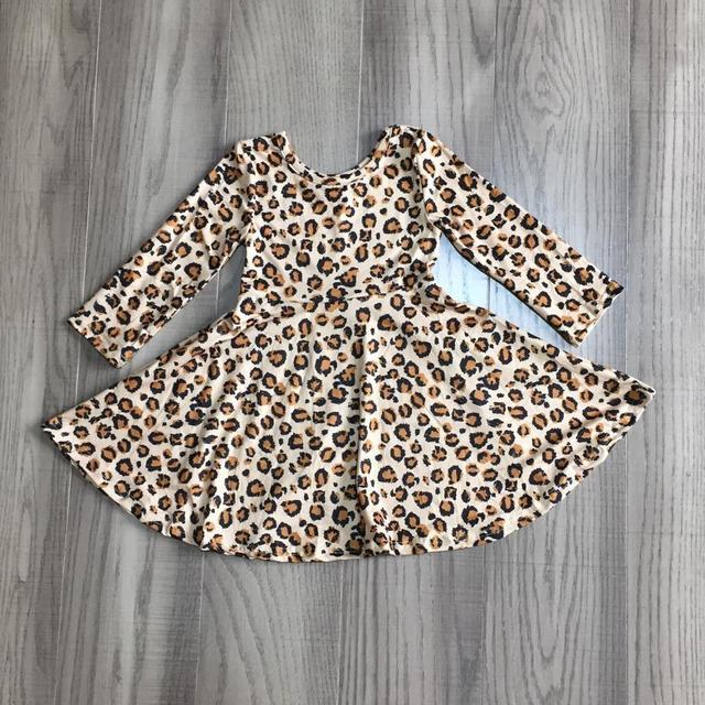 Girlymax Christmas Fall/winter Baby Girls Cotton Chlidren Clothes Milk Silk Twirl Dress Knee Length Plaid Leopard Wine Floral 5