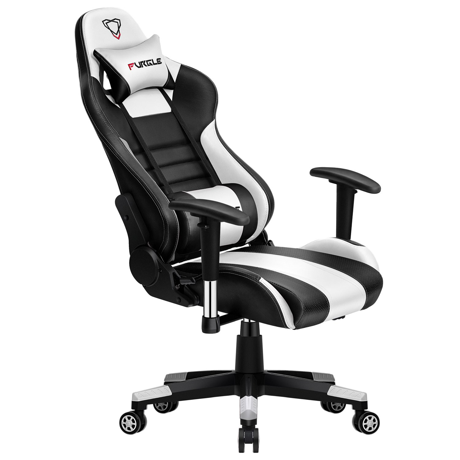 Furgle Body Huging Design Office Seat Gaming Chair White WCG Gaming Chair Engineering Nylon Base Computer Chair With PU Leather