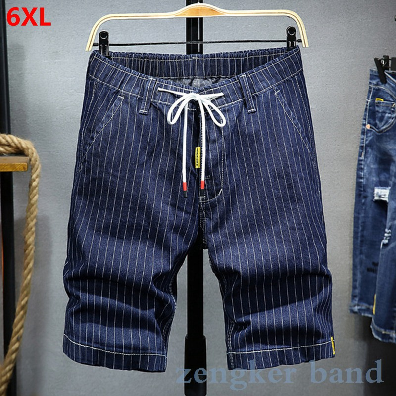 Summer Shorts Men Tide Loose Casual Five-point Pants Large Size Striped Boys Jeans Men Tide Summer Thin Section Shorts Men