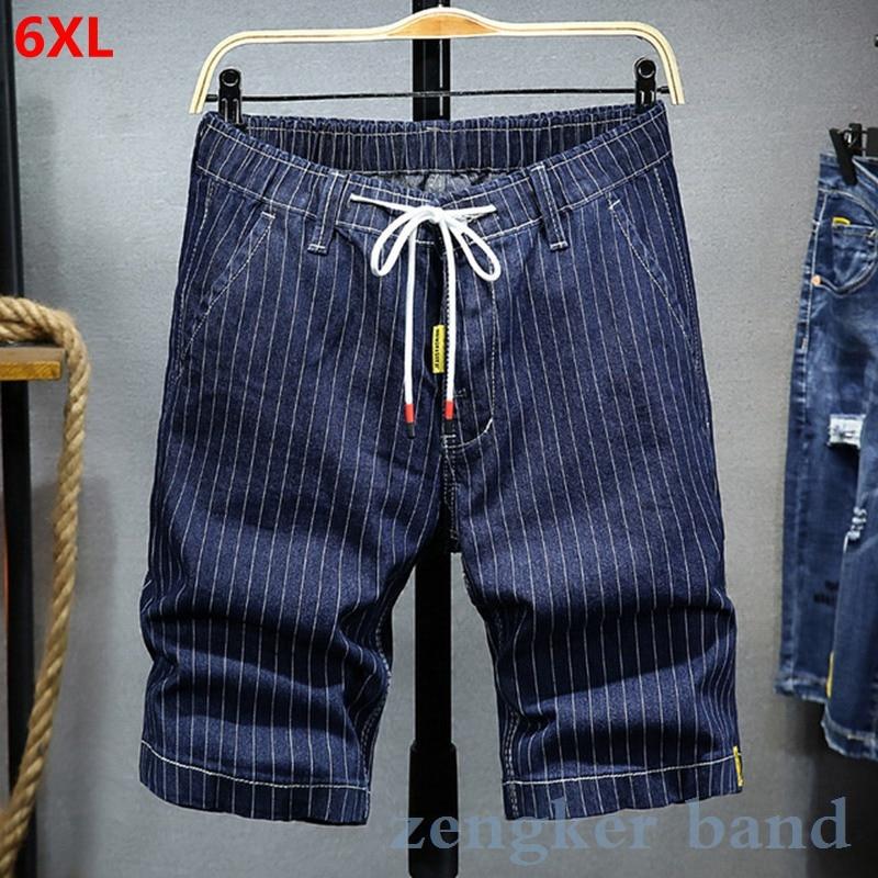Summer Shorts Men Tide Loose Casual Five-point Pants Large Size Striped Boys Jeans Men Tide Summer Thin Section Shorts Men